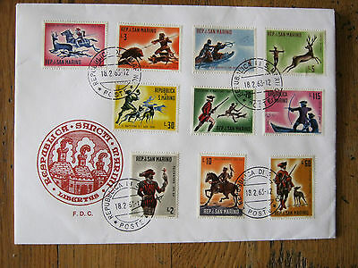 10 Stamps Official Fdc 18.2. 1963 San Marino  Hunting   Perfect Condition