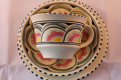 HONITON POTTERY TRIO CUP SAUCER & PLATE HAND PAINTED RARE RETRO VINTAGE 1956c +