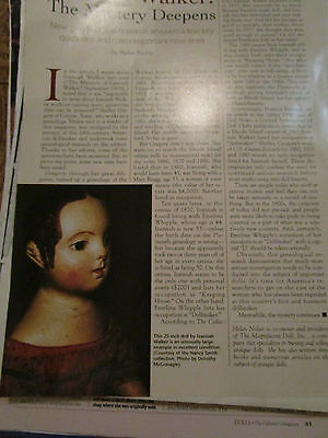 1pg Izannah Walker Doll Magazine Article / GENEALOGICAL RESEARCH Mystery Deepens