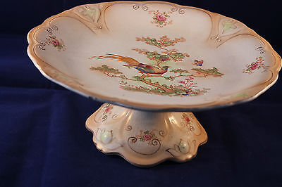 CROWN DUCAL ANTIQUE 1916c BLUSHWARE TAZZA COMPORT CAKE STAND BIRD PARADISE AVIS