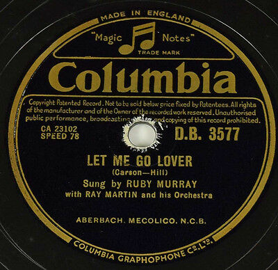 Schellackplatte - Ruby Murray - Let Me Go Lover / Happy… gramophone record