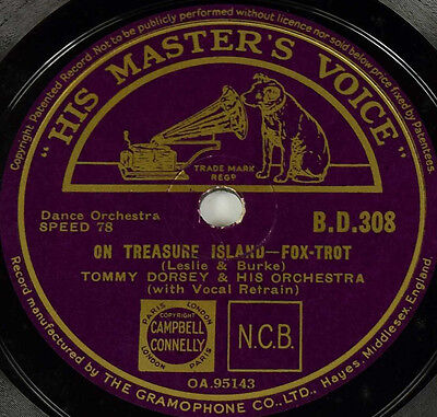 Schellackplatte - Tommy Dorsey - On Treasure Island / Take Me Back To My Boots..