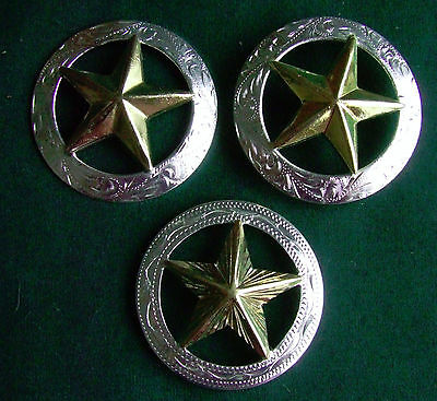 Lot of 3 Star Conchos Show Parade Vintage Bridle Headstall Gold Champion Turf