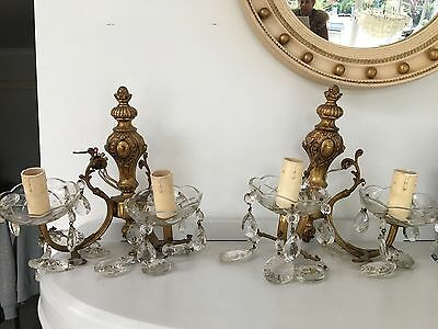 vintage antique pair of double spelter brass and crystals wall lights