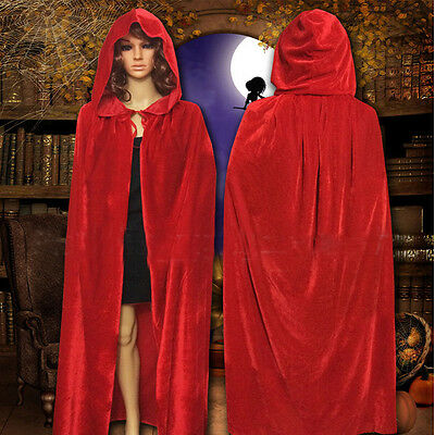 Red Women Cosplay Velvet Cloak Witch Adult Hooded Cape Halloween Vintage Costume
