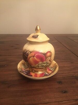 Aynsley Orchard Gold Fine Bone China Small Lidded Urn On Plate