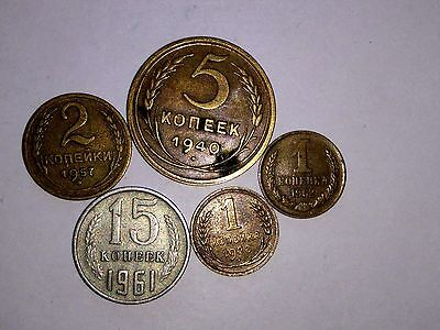 5 x old Russian Coins - CCCP Russia