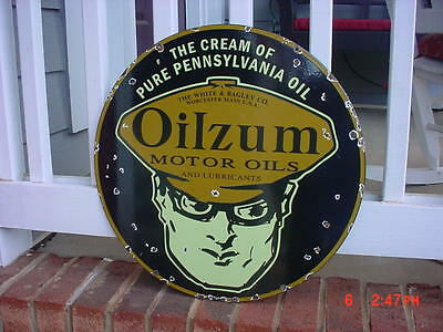 Oilzum Oil Gas Station Porcelain Sign Very Large 18 Inches