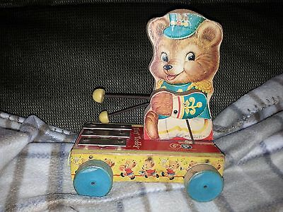 Vintage 19062 FISHER PRICE TINY TEDDY Wooden Pull Toy  #635 Xylophone
