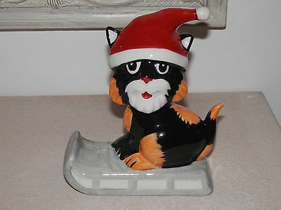 *rare* Lorna Bailey Christmas Cat On Sledge Figure 5 Inch *excellent*