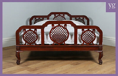 "Antique 6ft 6"" Edwardian Anglo Indian Colonial Raj Mahogany Super King Bed"