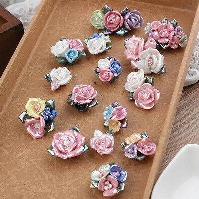 10PCS Sealing Glair Colour plated Ceramic Flower Beads Jewelry DIY Accessory