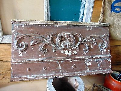 Antique Architectural Salvage Antique Walnut Pediment Header Distressed Paint