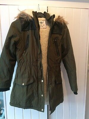 Girls Khaki Pu Leather Quilted Fleece Parka Coat Jacket Age 11-12 Years