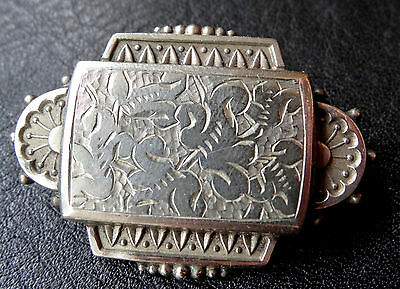 antique Victorian SILVER front leaf flower brooch spare repair jewellery -D518