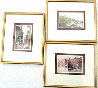3 Framed Oilette tPostcards Whitby Yorkshire East Cliff, Outward Bound, Tin Gaut