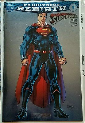 SUPERMAN #1 Rebirth, SDCC Convention Foil Variant cover NEAR MINT UNREAD, LOOK !