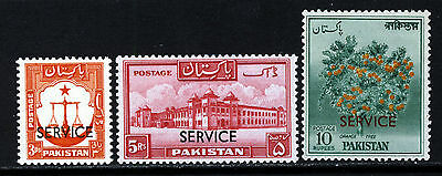 PAKISTAN 1958-61  OFFICIALS Overprinted SERVICE Issue  O60 to O62  MINT