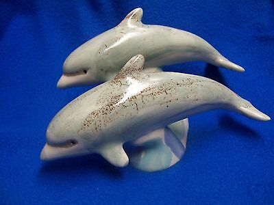 Dolphin Ceramic Art Pottery Two Swimming Dolphins