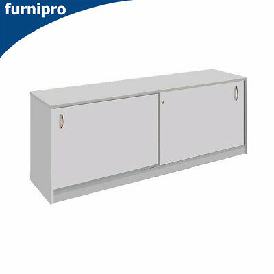 NEW Office Sliding Door Buffet Lockable Office Storage Cabinet Grey W1200mm