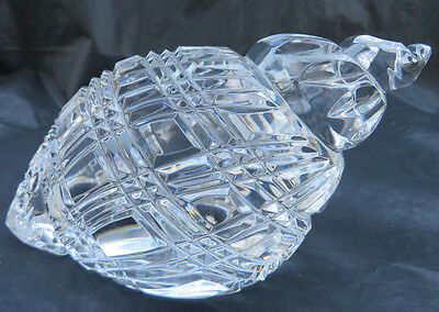 "Waterford Cut Crystal Conch Shell Paperweight Real Nice !! 5 1/4"" L x 2 3/4"" H"