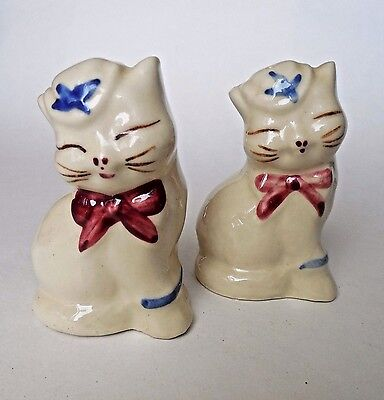 Pair of Shawnee Pottery Cats Posing as Salt and Peppers, Vintage
