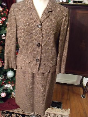 "Beautiful 1950's Vintage 2Pc.  Brown Wool Tweed Suit Designer ""davidow"""