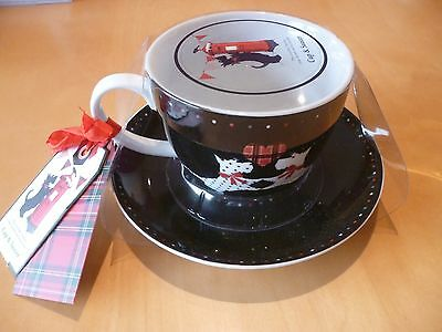 The Scottish Terrier Scottie Dog Cup and Saucer New Tags Black Tartan Xmas