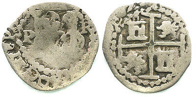 Potosi, Bolivia shield type 1/2 real silver cob, Philip III, assayer R #1060