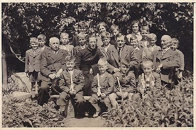 Vintage Real Photo PC - Group Of School Boys, Priest, Religion, Germany/Austria?