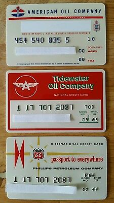 3 Vintage Gas Oil Credit Charge Cards Tidewater Oil American Oil Phillips Expire