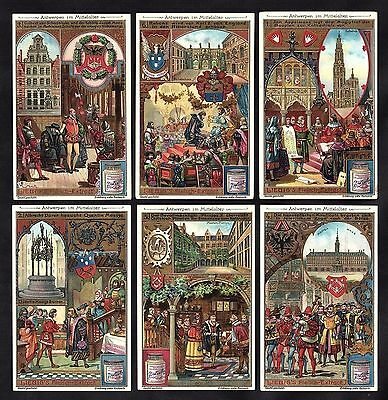 Antwerp In The Middle Ages Card Set Liebig 1905 Belgium Flanders Hansa History