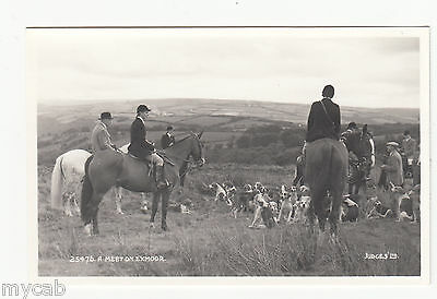 Postcard Somerset fox hunting A hunt Meet on Exmoor RP by Judges 25476