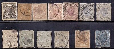 Luxembourg. 13 used stamps issued 1865 to 1875.