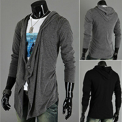 Men's Hooded Cardigan Long Sleeve Knitted Sweater Outwear Jacket Coat Outwear