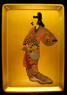 """17 3/4""""  Japanese Showa Period Lacquered Wood Hand Painted Tray / Picture"""
