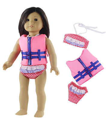 New Style Swimsuit+Life vest Doll Clothes FOR 18'' inch American Girl Doll
