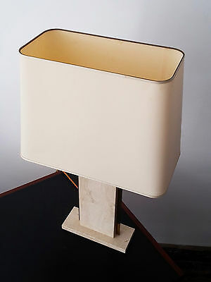 Travertine & brass table lamp 1970s Hollywood Regency, RIZZO, JANSEN, CHARLES