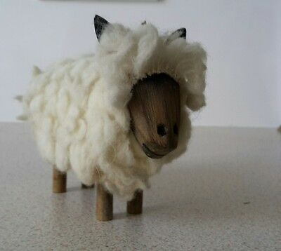 Vintage Woolly Sheep Figurine Wooden Sculpture Ornament Gift
