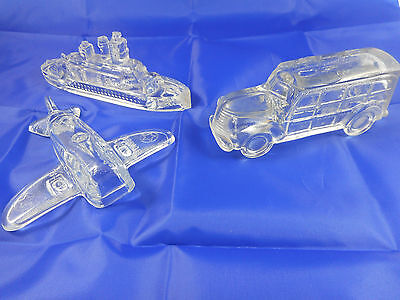 VINTAGE LOT OF 3 GLASS CANDY CONTAINERS - Woody - Army Airplane - Naval Ship
