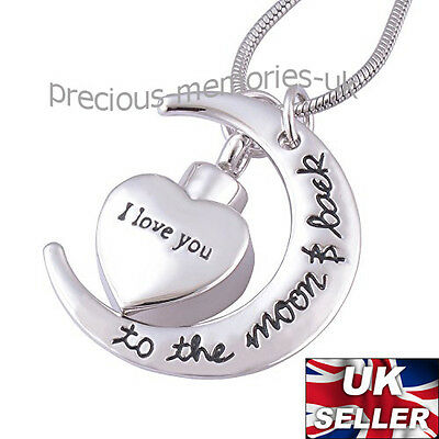 Moon Heart Ashes Necklace - Funeral Cremation Jewellery Memorial Ash Urn Pendant