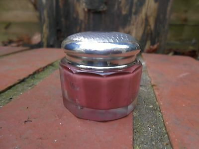 Antique Solid Silver Faceted Rouge Pot
