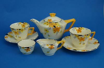 CROWN DUCAL Tea Set for Two SUNBURST Hand Painted ART DECO Teapot, Cups, Jug etc