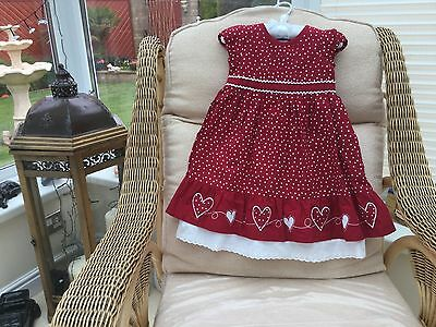 GIRLS  DRESS  AGE 9 - 12 months red and white cotton