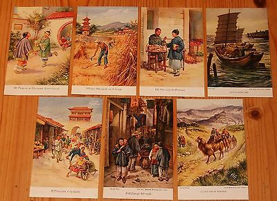 Old postcards, China, scenes of Chinese life, unused, 7 postcards
