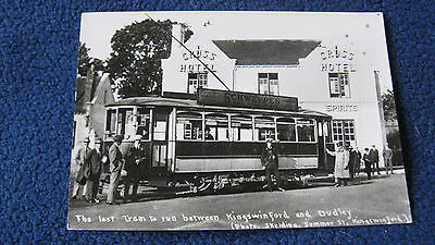 LAST TRAM ON KINGSWINFORD DUDLEY ROUTE 1930 BLACK COUNTRY POSTCARD VGC ref 7879