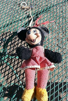 "Vintage 9"" Minnie Mouse Rubber Or Vinyl Face Plush Doll By Gund"