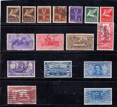 Italy. 4 mint and 12 used stamps issued 1930 to 1932. Catalogue £38