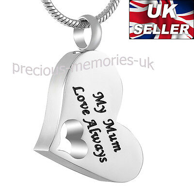 Mum Heart Ashes Necklace - Funeral Cremation Jewellery Memorial Ash Urn Pendant