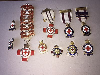 Vintage Lot Of Early Red Cross Emanel Pin Badges Vad 3 -10 Years First Aid 45-55